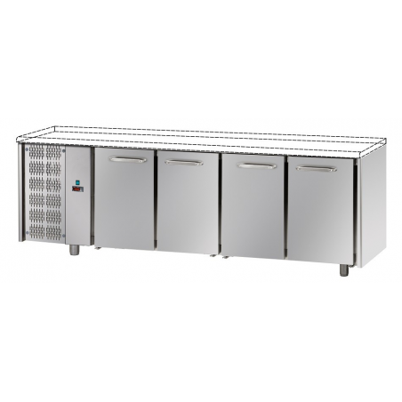 Refrigerated counter 4 doors unit left side