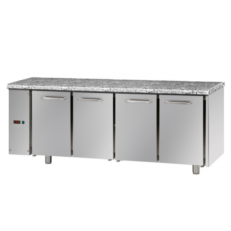 Refrigerated table with 3 doors predisposed for remote refrigerating units