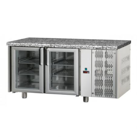 Refrigerated counter 2 glass doors