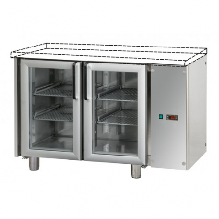 Refrigerated counter 2 glass doors designed for normal temperature remote condensing unit