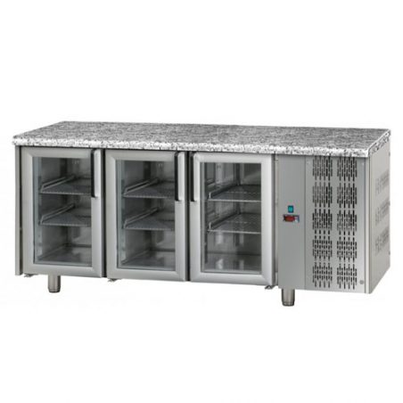Refrigerated counter 3 glass doors