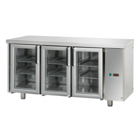 Refrigerated counter 3 glass doors designed for normal temperature remote condensing unit
