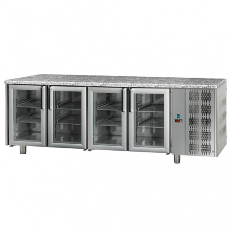 Refrigerated counter 4 glass doors