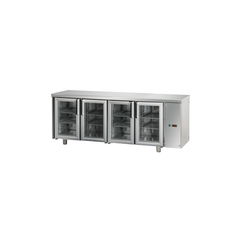Refrigerated counter 4 glass doors designed for normal temperature remote condensing unit