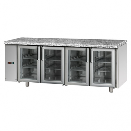 Refrigerated counter 4 glass doors SX group designed for normal temperature remote condensing unit
