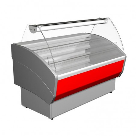 Curved glass refrigerated counter 1400 mm