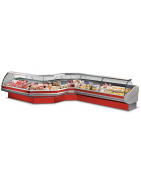 Refrigerated meat counters in static cooling