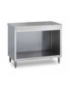 Table with open cupboard